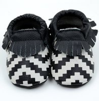Wholesale Chevron Shoes - 100% leather baby moccasins new baby chevron mocss kids zigzag moccs baby shoes sandals fringe shoes infant tassel fringe leather shoes