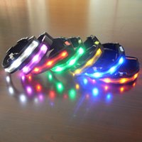 Wholesale Dog Leather Collars Xl - 30pcs New Nylon LED Cat Dog Pet Collars Pet Shop Flashing Light Up Safety Collar Size S M L XL