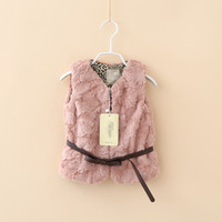 Wholesale Girls Leopard Waistcoat - New fashion child faux fur vest girl leopard lined outerwear princess bow belt vest kid winter ALL-Match Waistcoats 6pcs lot