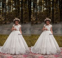 Wholesale Organza Chiffon Flower Girl Dresses - 2018 Lovely Ivory Lace Girls Pageant Dresses Cap Sleeves A Line chiffon Lace Appliqued with Beaded Sash Custom Made Flower Girls Dresses