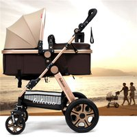 Wholesale Down Light Can - Ultra Light Four Wheel Folding Poussette Baby Stroller High Landscape can Sit and Lie Down Shock Absorbers Car Umbrella Troller