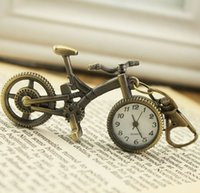 Wholesale key watch necklace resale online - Fashionable Creative Vintage Bike Quartz Watches Pocket Watch Key Ring Necklace Gift High Quality Bicycle Pendant