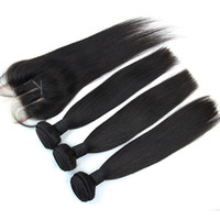 Wholesale Cheap Human Lace Front Closure - Brazilian Hair Bundles With Lace Closure 3 Way Part 4pcs Per Lot Cheap Unprocessed Virgin Straight Human Hair Weaves With Lace Front Closure