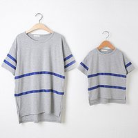 Wholesale Shirt Mother Daughter - Wholesale-Family T-shirt,matching mother and daughter clothes summer Genuine Casual Gray Blue Stripe Outfits o-neck plus size T-shirts