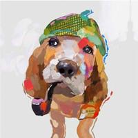 ingrosso disegnando pareti della camera da letto-Cute Dog 100% dipinto a mano pittura a olio su tela Murale Art Drawing per la decorazione della parete camera da letto dell'ufficio