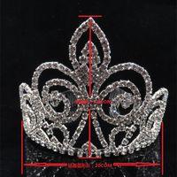 Wholesale Tiaras Coral - Gorgeous Wedding Tiara Simulated Pearls Jewelry Diadem Shiny Bridal Crown Big Queen Tiaras Rhinestone Crystal Hair jew
