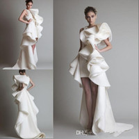 Wholesale Sexy Design Wedding Gown - 2015 Hot Design wedding Dresses One Shoulder Appliques Ruffles Sheath Hi-Lo Organza New Customed White Ivory Krikor Jabotian Bridal Gowns