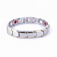Wholesale Magnet High Power - Men High Power Magnetic Bracelet Jewelry Silver tone 316L Stainless steel Magnets Healing Male Bangle Wristband Charm wholesale