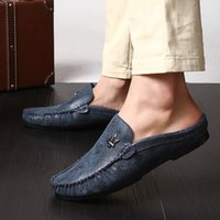 Wholesale Casual Rubber Slipper For Men - Driving Shoes Man Soft Comfortabl Microfiber Leather Lazy Slippers For Casual Male Rubber Outsole Doug Shoes Men 39-44 Retail H322