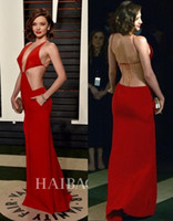 Wholesale Miranda Kerr Deep V Dress - Miranda Kerr Sexy Deep V Neck 2016 88th Academy Awards Oscars Celebrity Dresses Red Carpet Dresses Summer Split Evening Dresses Prom Dresses