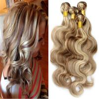 ingrosso tessuto brasiliano tessuto misto-Mix Color 8 613 Fasci di capelli umani Piano Color Estensione del corpo Onda dei capelli Ombre Tone Hair Tesse Vergine brasiliana 3 fasci