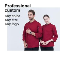 Wholesale Buttons Restaurant - Coverall custom cotton Blend long sleeved work Hotel Chef Work Coat clothes High Grade Western Restaurant Clothing