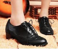 Wholesale Women Brown Oxford Heels - 2015 New Classics Women Lace Up Oxford Heels Shoes Boots Boots Low Heels Ankle Boot