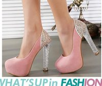 Wholesale Elegant Crystals Bridal Shoes - Elegant princess crystal heels glitter sequins platform pumps wedding shoes bridal shoes 6 colors size 34 to 39
