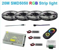 Wholesale Smd Store - outlet store in 20m smd 5050 rgb led Flexible strip light 60leds m+DC 12V 18A Wireless Remote Controller+12A Amplifier*3+20A Power in stock
