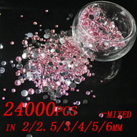 Wholesale Diy Resin Flatback - Beads 24000pcs Pink Color Mixed Sizes 2mm 2.5mm 3mm 4mm 5mm 6mm Resin rhinestones Flatback With Silver Backing Beads Diy