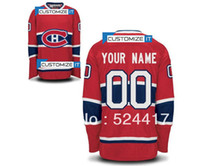 Wholesale Polyester Cotton Shirt - stitched Montreal canadians blank customized men's ice hockey jersey put your name and number hockey shirt epacket free shiping