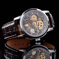 Wholesale Skeleton Watch Brown - Brown Fashion Automatic Mechanical Skeleton Mens Wrist Watch