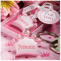 Wholesale Key Box Wedding - lots 20pcs baby girl Princess Imperial crown key chain key ring keychain +gift box ribbon baby shower wedding gift favor