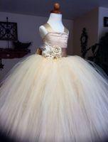 Wholesale Tutu Bra - The new champagne flower girl tutu skirt bra flower girl dress