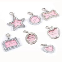 Wholesale Diamond Pet Id Tags - 50pcs lot Zinc Alloy Blank Pet Cat Dog ID Tags Pet hang pendants inlaid with diamonds