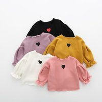 Wholesale Love Heart Sweet Fashion - Toddler kids T-shirts Baby girls Puff sleeves velvet tees Infants love hearts printed tops Autumn Baby sweet clothes C2153