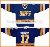 Wholesale connor costume - 2015 HANSON Brothers SLAPSHOT #17 Steve HANSON movie Charlestown CHIEFS - Blue Halloween Costume Any Number, Any Name Sewn On (S-4XL)