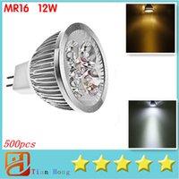 Wholesale Cree Mr16 12v Leds - MR16 12W Led Light Dimmable MR16 4X3W 12W Spotlight 12V 4-CREE LEDS downlight Led Lamp FREE SHIP 500pcs lot