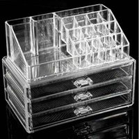 Wholesale Clear Plastic Storage Drawers - 2017 New Makeup Cosmetics Jewelry Organizer Clear Acrylic Drawer Grid Display Box Storage Holder free shipping