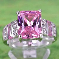 Wholesale Solitaire Emerald Rings - 2015 New 425AR8-10 Emerald Cut Pink & White Topaz Gemstone 18K White Gold Plated Rings For Wedding Party Size 10 In Stock A0065