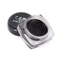 Atacado - 5g Waterproof Black Eye Liner Beauty Cosmetic Sample Hot Eyeliner Eye Shadow Gel Maquiagem + escovas