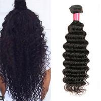 siyah kıvırcık saç toptan satış-Derin Dalga Brezilyalı Saç 1 Bundle 6A Sınıfı Bakire Saç Örgü% 100% Brazillian Saç Derin Kıvırmak Sıkı Kıvırcık Saç Örgü Toptan Doğal Siyah