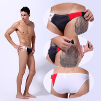 Wholesale Black Swimsuit Shorts - Wholesale-Sexy men Swim trunks male bikini swimwear men's slip swim shorts patchwork mens swimsuit man low rise sunga bathing trunk