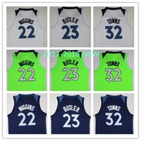 Wholesale White Fans - High QualityNew Men Fans jersey #23 Jimmy Butler Jersey #32 Karl-Anthony Towns #22 Andrew Wiggins Basketball Jerseys Blue green Jersey