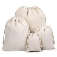Wholesale Drawstring Cotton Pouch - Canvas Drawstring Pouches 100% Natural Cotton Laundry Favor Holder Fashion Jewelry Pouches