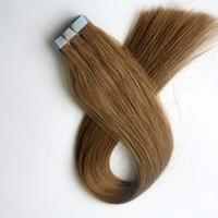 rallonges cheveux 12 bandes marron clair achat en gros de-Top qualité 50g 20 pcs colle bande de trame de peau dans les extensions de cheveux humains 18 20 22 24 pouces # 12 / lumière Golden Brown cheveux indiens brésiliens