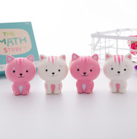 Wholesale doll cats - Jumbo Squishy Pink White Cat Kawaii Cute Animal Slow Rising Sweet Scented Vent Charms Bread Cake Kid Toy Doll KKA3301