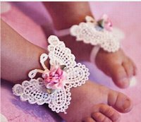 Wholesale Band Set Up - 3 PCS 1 Set Infant Baby Butterfly Headband Headdress Barefoot Toddler Foot Flower HOT Sale 10pair