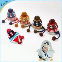 Wholesale Knitting Kids Hats Design - Children Beanies Animal Design Crochet Baby Hat Handmade Knitted Kids Funny Winter Hat EarFlap Cap Winter Hat MZ21031