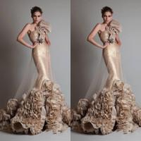 ingrosso zuhair murad tromba-2019 New Luxury Sexy oro senza maniche una spalla sirena tromba Zuhair Murad abiti da sposa con fiore e telaio 260