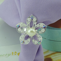 Wholesale Cheap Wholesale Napkin Rings - New Arrival Shiny Colored Flowers Diamond Pearl Napkin Rings For Wedding Banquet Party Table Decoration Accessories Cheap Sale
