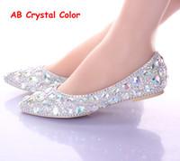 zapatos de boda de plata damas de honor al por mayor-Tacones planos punta estrecha AB zapatos de boda de cristal pisos de baile de plata espectáculo de rendimiento zapatos de vestir de mujer zapatos de dama de honor nupcial
