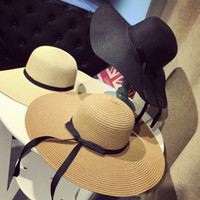 chapéu grande da praia da borda larga venda por atacado-Grandes Chapéus de Malha Dobrável Chapéu De Palha Boho Chapéus de Aba Larga Verão Praia Chapéu Para Senhora Protetor Solar Tampas Para As Mulheres