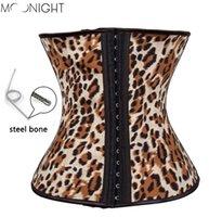 Wholesale Leopard Print Body Shaper - w1022 Latex Waist Cincher Leopard Print Latex Waist Training Corsets Hot Corset Steel Boned Waist Trainer Plus Size Sport Body Shaper
