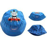 Wholesale Hats For Kids Crochets Cartoons - New Blue Cartoon Baby Sun Hats Cotton Kids Cute Bucket Hat Spring Summer Fisherman Hat for Children Kids Beach Caps