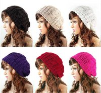 Wholesale Beret Winter Girl - 20pcs Lady Winter Warm Knitted Crochet Slouch Baggy Beret Beanie Hat Cap free shipping