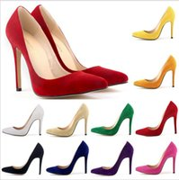 Wholesale Purple Velvet High Heel Shoes - Classic Sexy Pointed Toe High Heels Women Pumps Velvet Spring Brand Design Party Wedding Shoes 12 colors available
