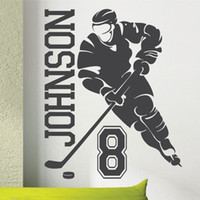 Wholesale Wall Decals Custom Name - New 2014 Custom Name & Number HOCKEY PLAYER Vinyl Wall Decals Mural Wall Stickers For Kids Rooms Size 56*69cm