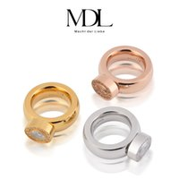 Wholesale Engage Rings - Wholesale-MDL Brand Vintage Top Rings Quality Gem Wedding Rose 18K Gold Mid Bands 316L Stainless Steel For Women Engage 2015 Fine Jewelry