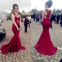 Wholesale Mermaid Dresess - African Sheer Neck Red Mermaid Evening Dresess 2017 Jewel Appliques Plus Size Evening Party Gowns Cheap Vestido Longo